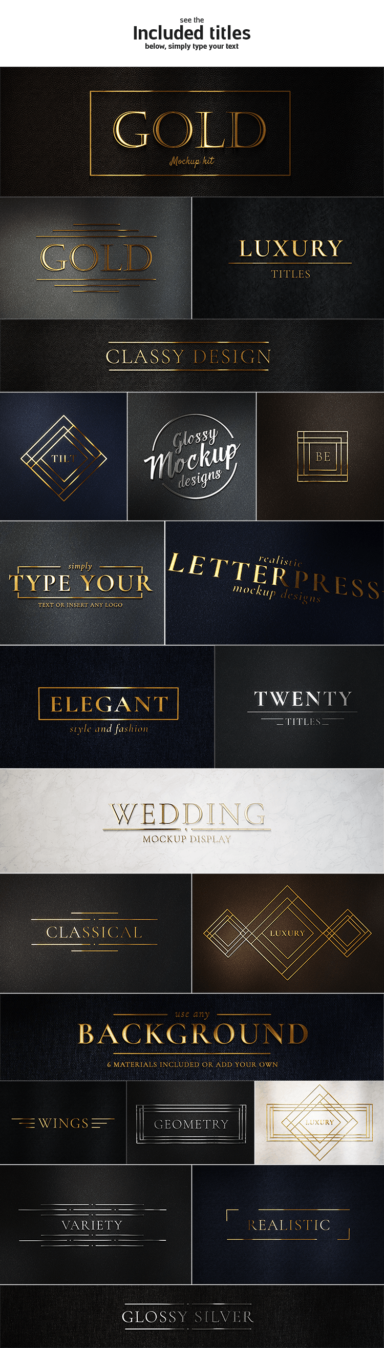 Gold Glossy Logo & Titles Kit