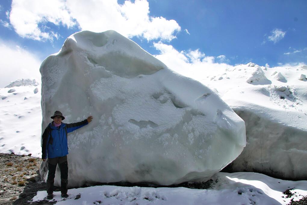 一片山坡上的大冰塊。一座冰河崩塌後,許多塊碎冰散落在周圍。圖片提供:青藏高原研究所田立德。