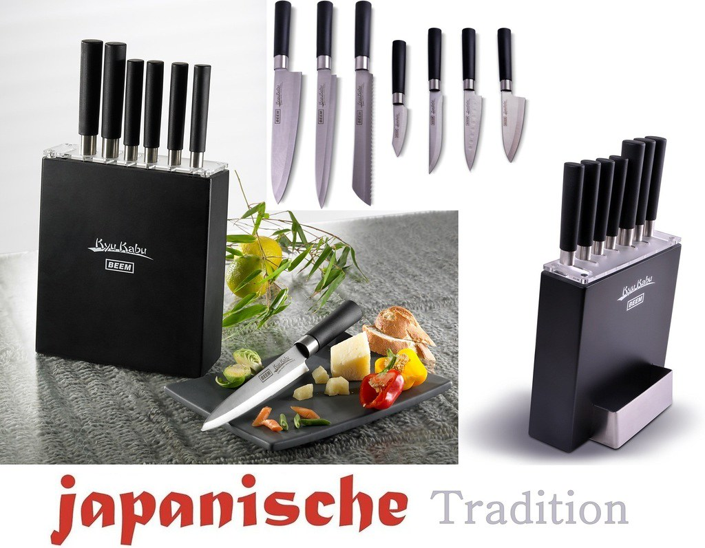 7x profi messer set mit holz messerblock santokumesser k chenmesser extra scharf ebay. Black Bedroom Furniture Sets. Home Design Ideas