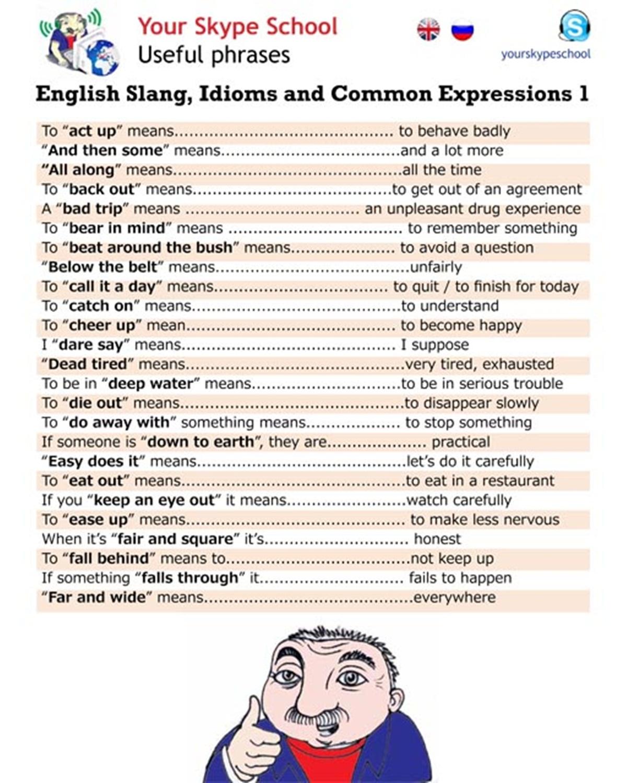 Common english idioms and slang words