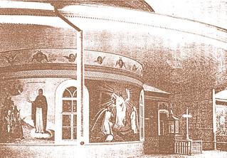 Дореволюционный вид могилы преподобного Иоанна Затворника, соединенной дверью с пономаркой, сопридельной алтарю больничной церкви
