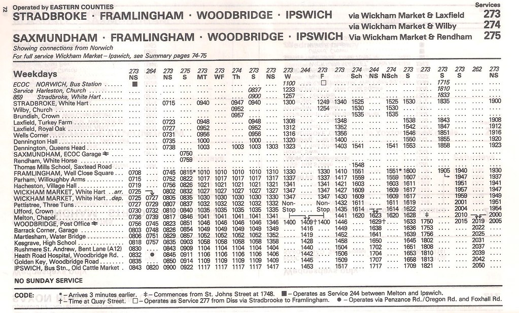 June 1983 Stradbroke Framlingham To Ipswich Bus Timetable By Apb P Ography