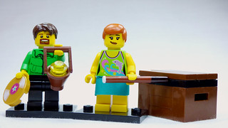 Brick Yourself Custom Lego Figure  Girl with Pool Cue and Soap Box | by BrickManDan