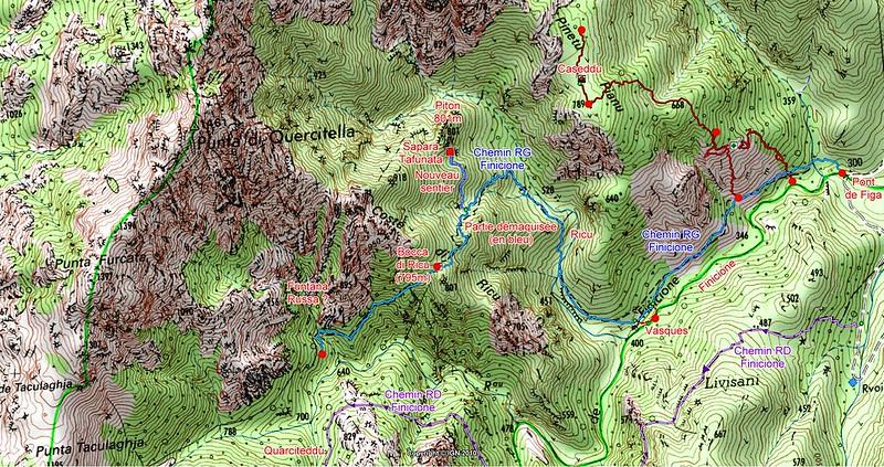 Carte du secteur du Finicione avec  le tracé complet du Chemin du Finicione RG et des sentiers annexes