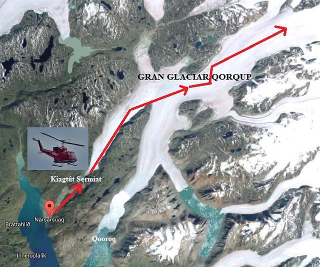 Ruta en helicóptero por el glaciar Qorqup (Groenlandia)