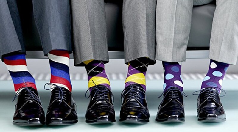 men with striped socks, patterned socks, or polka dot socks