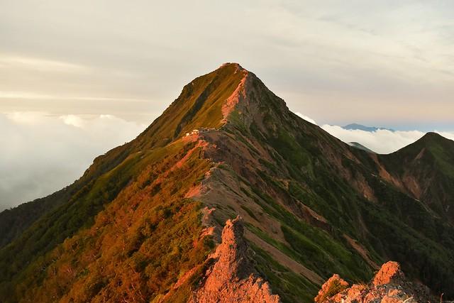 八ヶ岳モルゲンロート 朝日に染まる赤岳