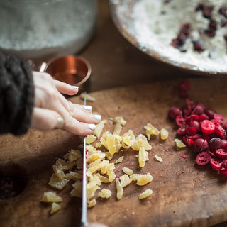Chopping Candied Ginger and Cranberries | by goingslowly