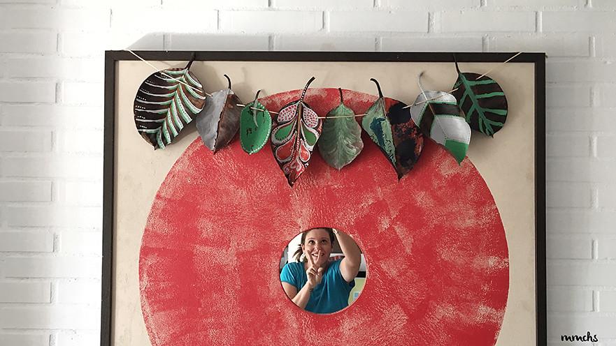 guirnalda con hojas secas de Otoño