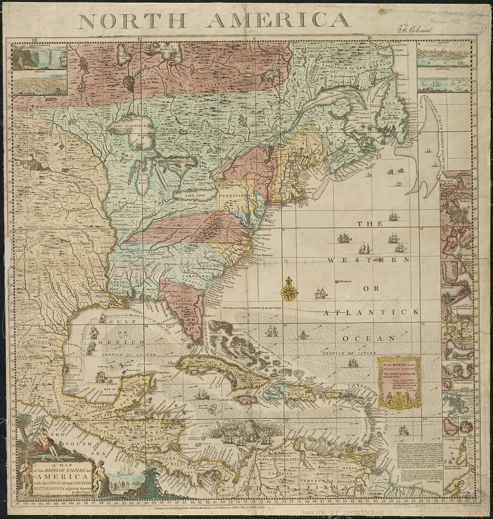 A map of the British Empire in America with the French and Spanish settlements adjacent thereto, (1775)