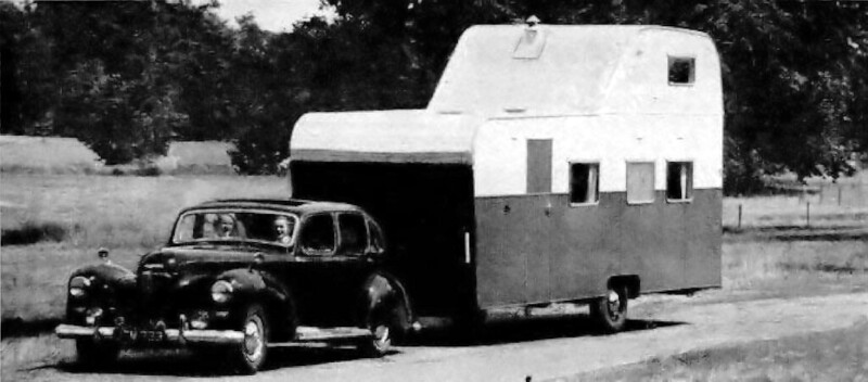 Two-story British Trailer - Only 24 feet long, the two-bedroom trailer maneuvers easily. Its over-all height is 12 feet 3 inches, including the chimney.