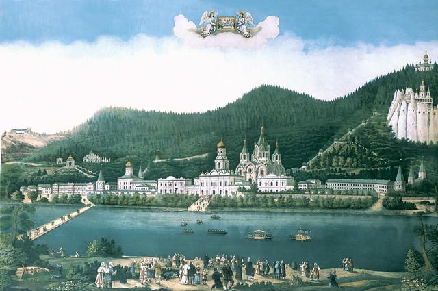 Вид Успенской Святогорской общежительной пустыни. Литография 1881г.