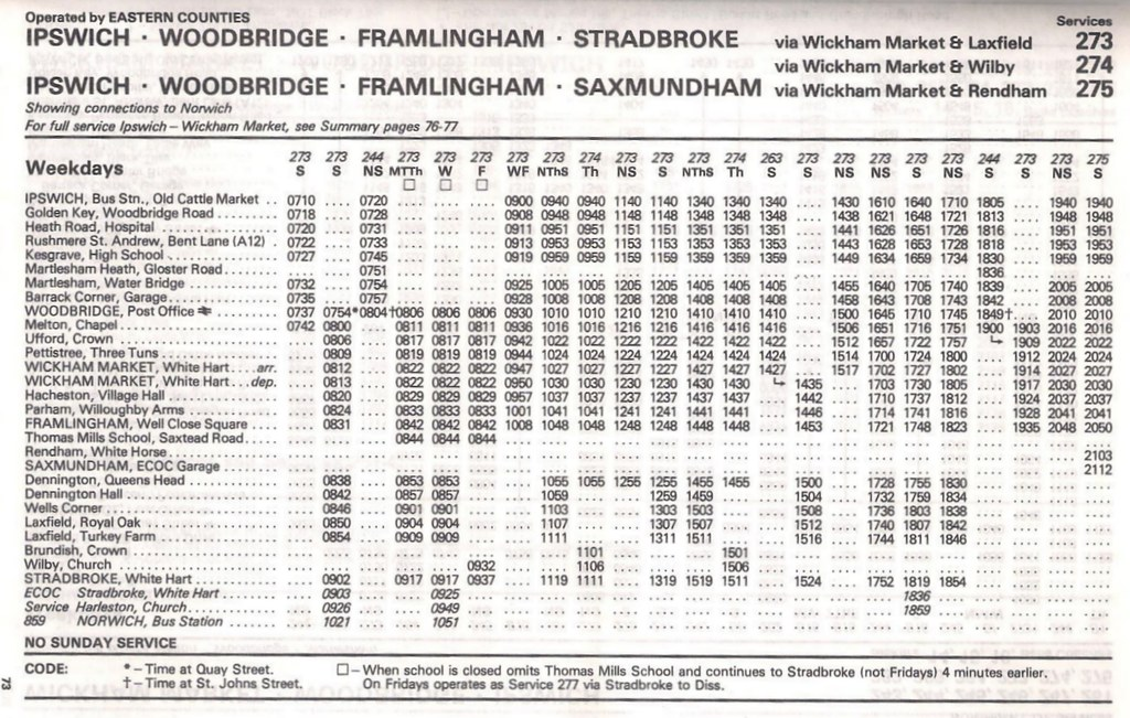 June 1983 Ipswich To Framlingham Stradbroke Bus Timetable By Apb P Ography