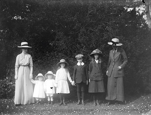 Mote, family 1914. Group of women and children standing in line, two women four girls and a boy | by National Library of Ireland on The Commons