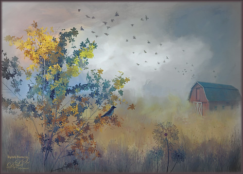 Digital painted image of a farm scene