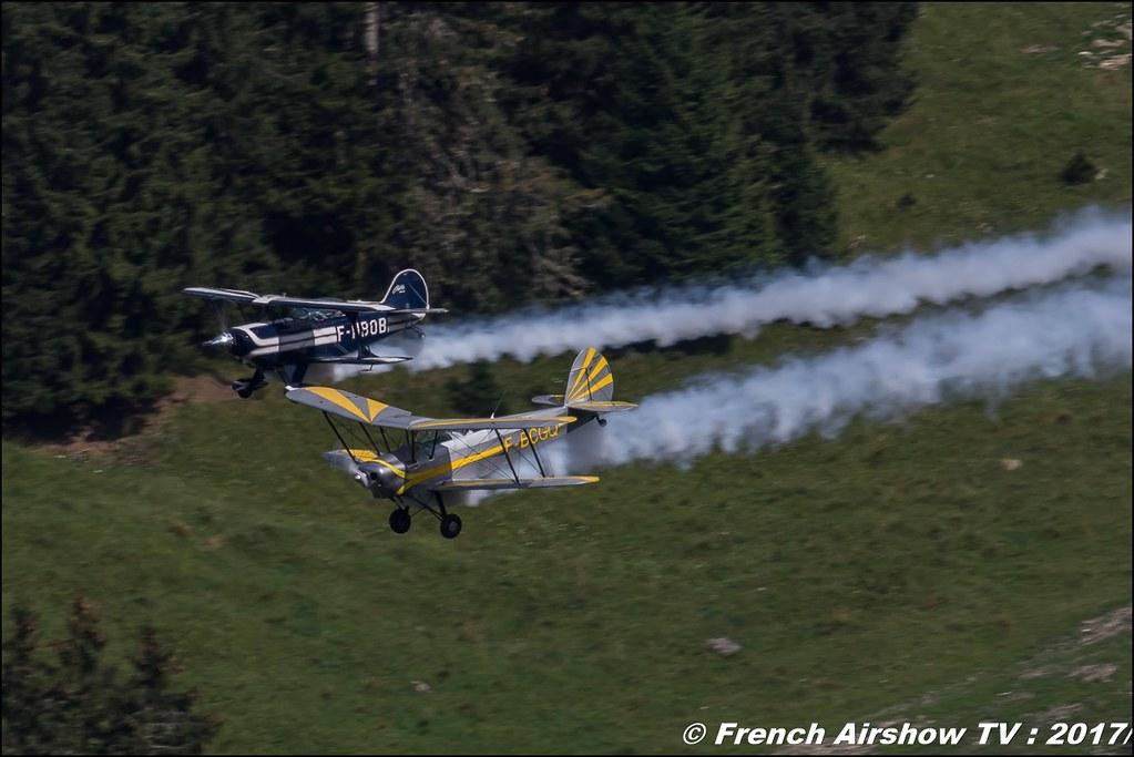 Pitts S-2B Special - F-HBOB & Stampe SV-4A - F-BCGQ 50ans d'Aviation Megeve 2017 - altiport de Megève , Haute-Savoie, Auvergne-Rhône-Alpes , Meeting Aerien 2017