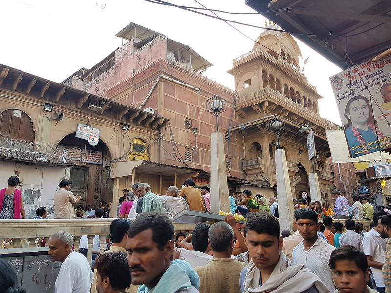 Crowds of people outside the Bankey Bihari Temple in Vrindavan before it opens