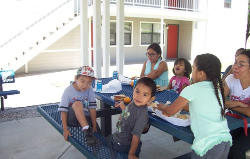 Children enjoying summer meals