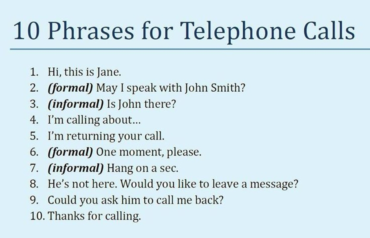 10 Phrases You Can Use When Making a Telephone Call ;) 3