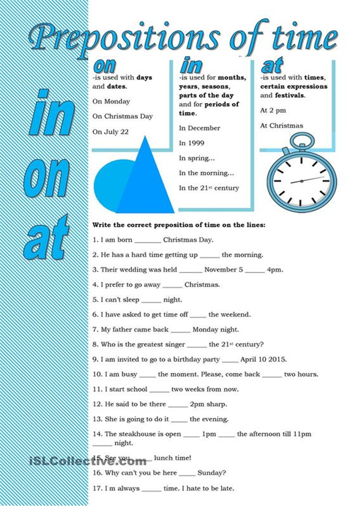 Prepositions of Time – AT, IN, ON (Exercises) 3