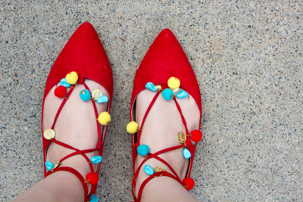 Red Flats with Multicolored Pom Poms and Beads from Forever 21