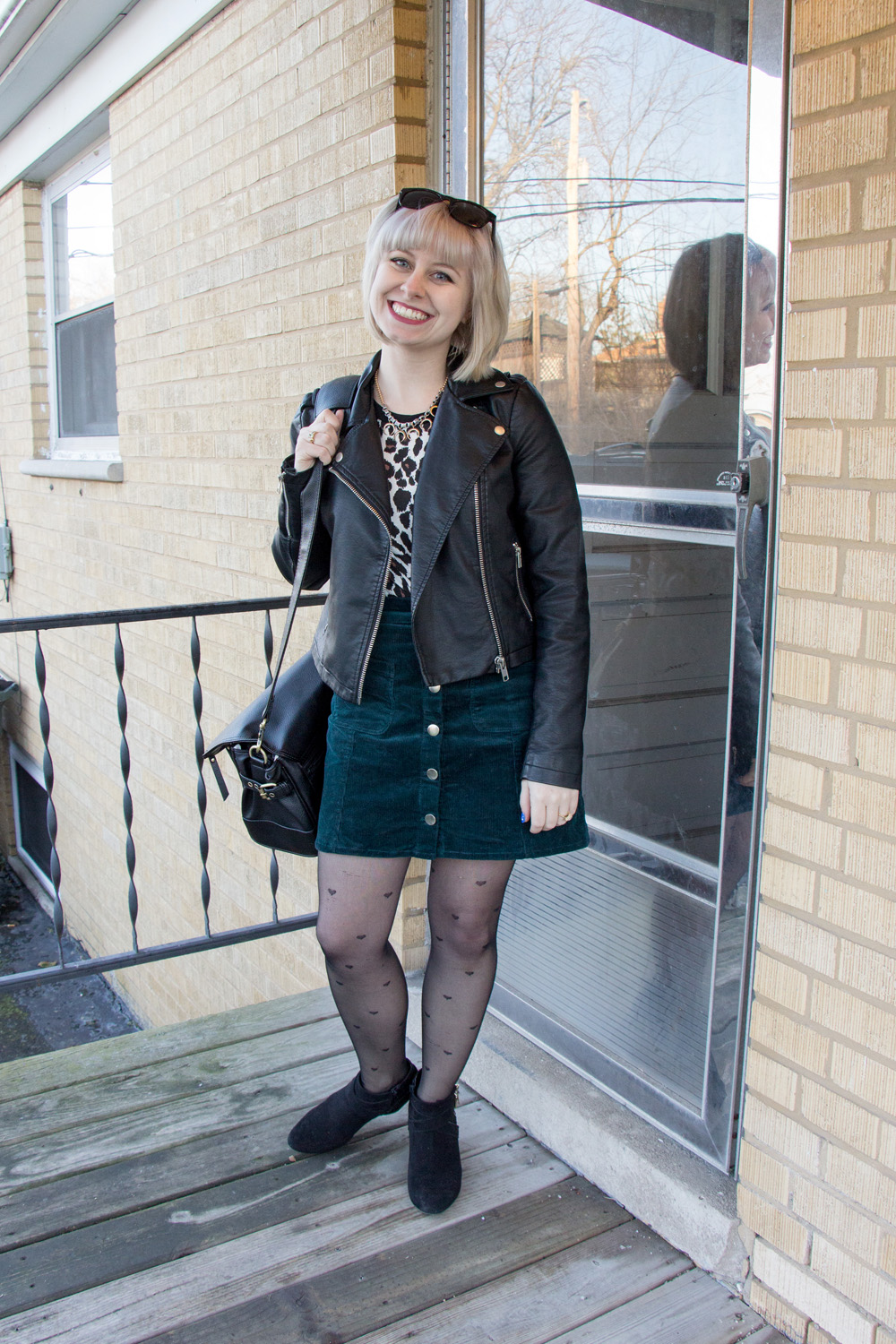 Green Corduroy H&M Skirt, Heart Tights, Leopard Tee, Leather Jacket