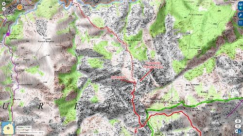 Carte de la région d'Ascu avec la chaîne du Traunatu (Dent d'Ascu). Tracé de l'itinéraire Ascu - Traunatu - Vetta di Muru - Castiglione validé en 08/2017