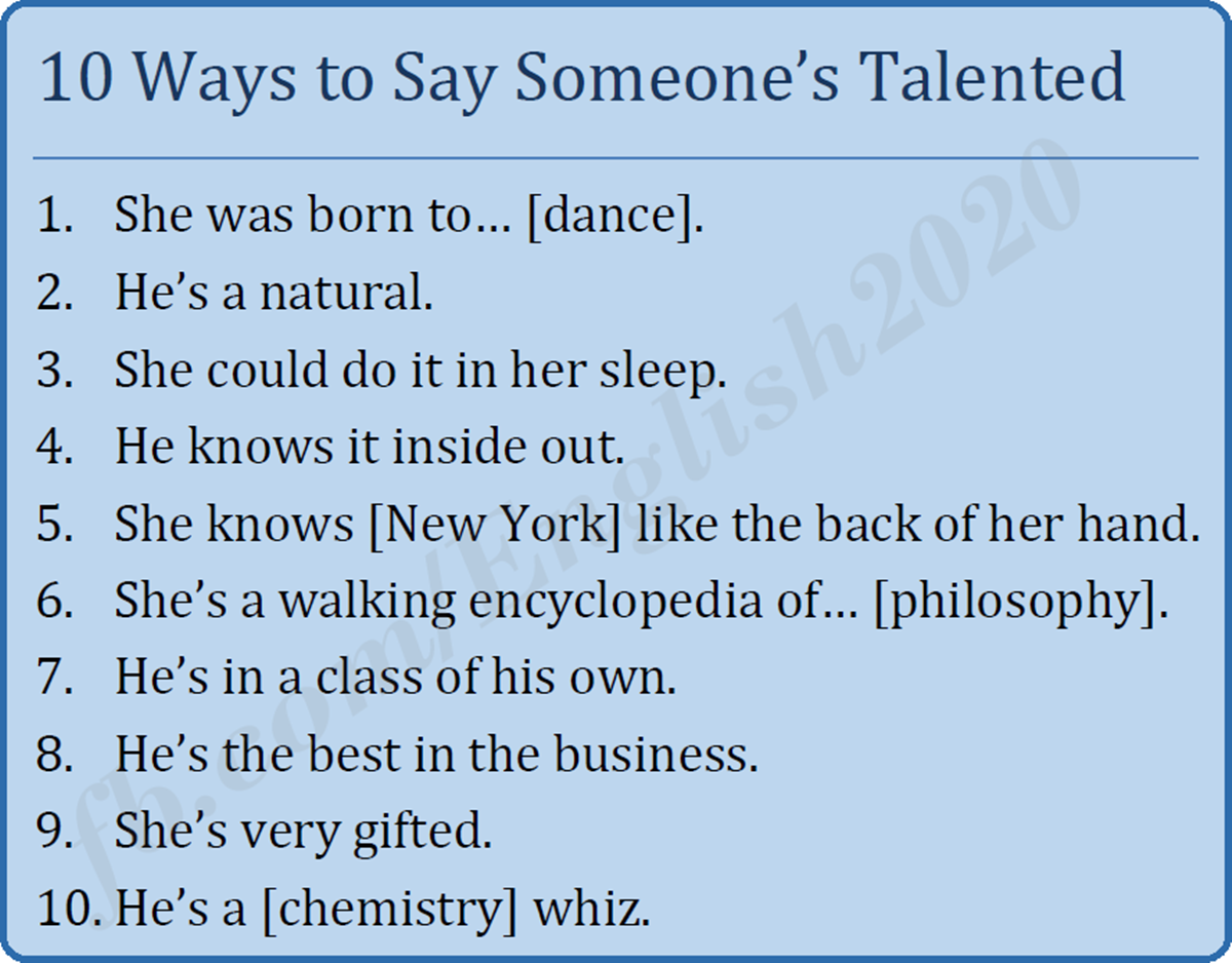Ten Ways to Say Someone's Talented 3