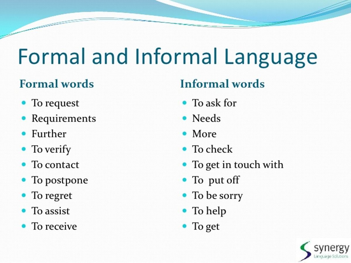 Forum Formal Informal English Fluent Land