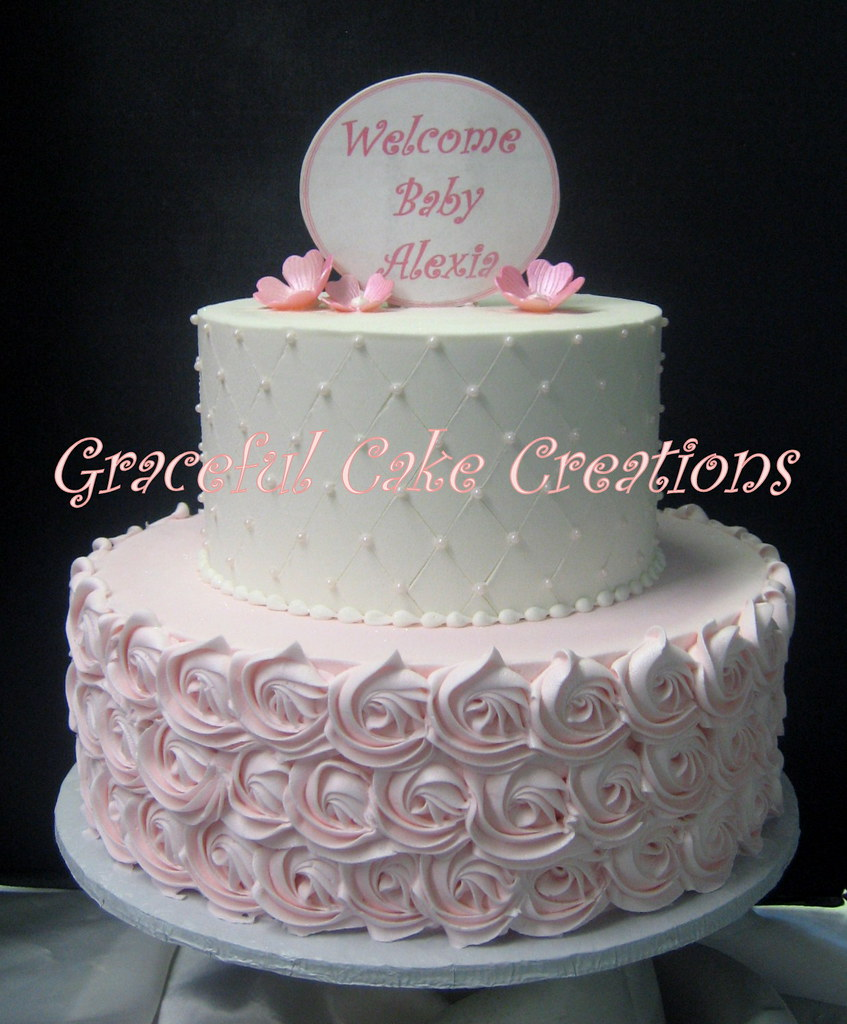 Elegant Pink And White Butter Cream Baby Shower Cake With Flickr