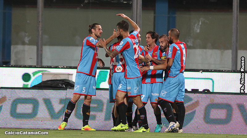 Un momento di gioia nel corso del match contro il Lecce