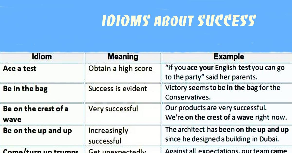 English Idioms about SUCCESS (Meanings & Examples) 5