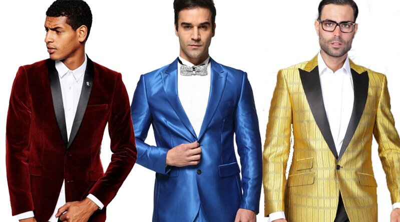 men in a velvet suit, blue suit, and striped suite
