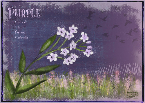Digitally painted image of flower on a purple background