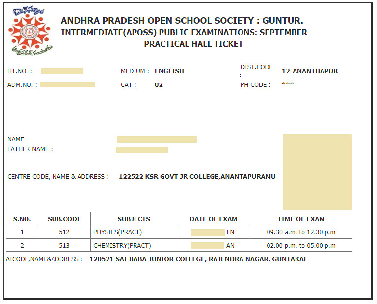 APOSS Hall Ticket