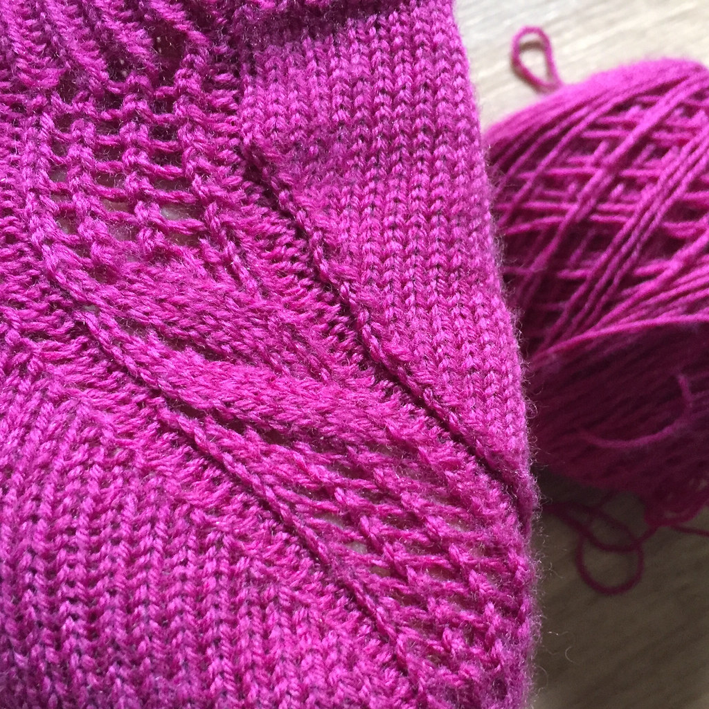 the story so far of a pair of clare devine's skua socks, knit in pink cascade heritage sock