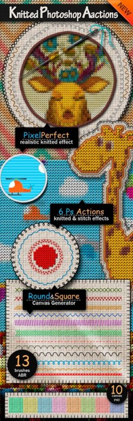 Knitted Style Photoshop Actions