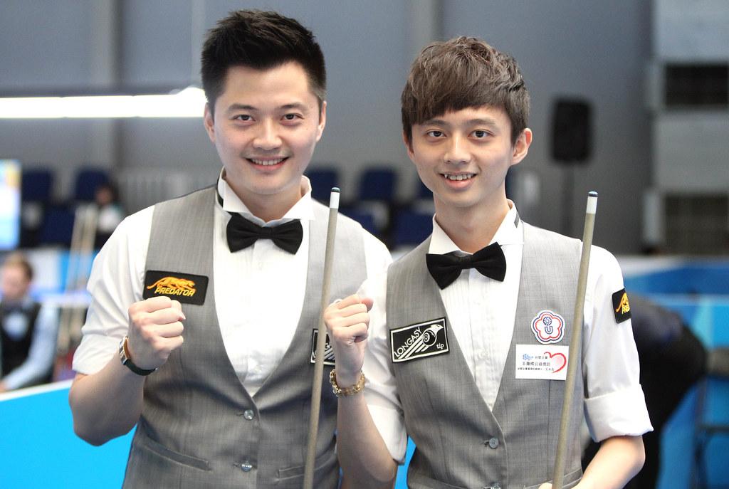 柯秉逸(左)、柯秉中兄弟檔勇闖男子9號球雙打4強。(世大運組委會提供)
