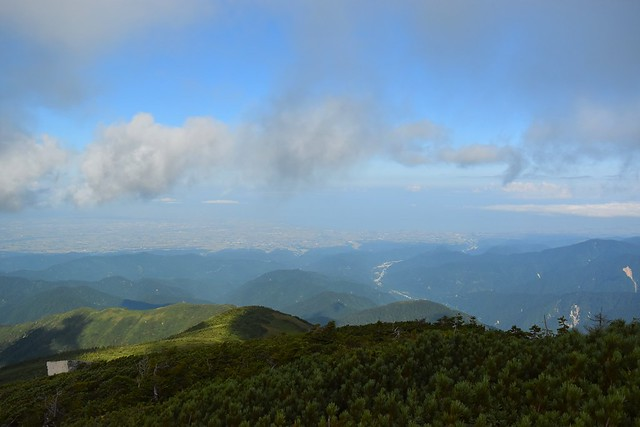大日岳山頂から富山市街と日本海
