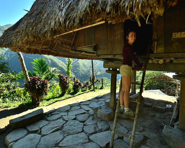 Subiendo a nuestra cabaña en Batad donde dormíamos en los arrozales
