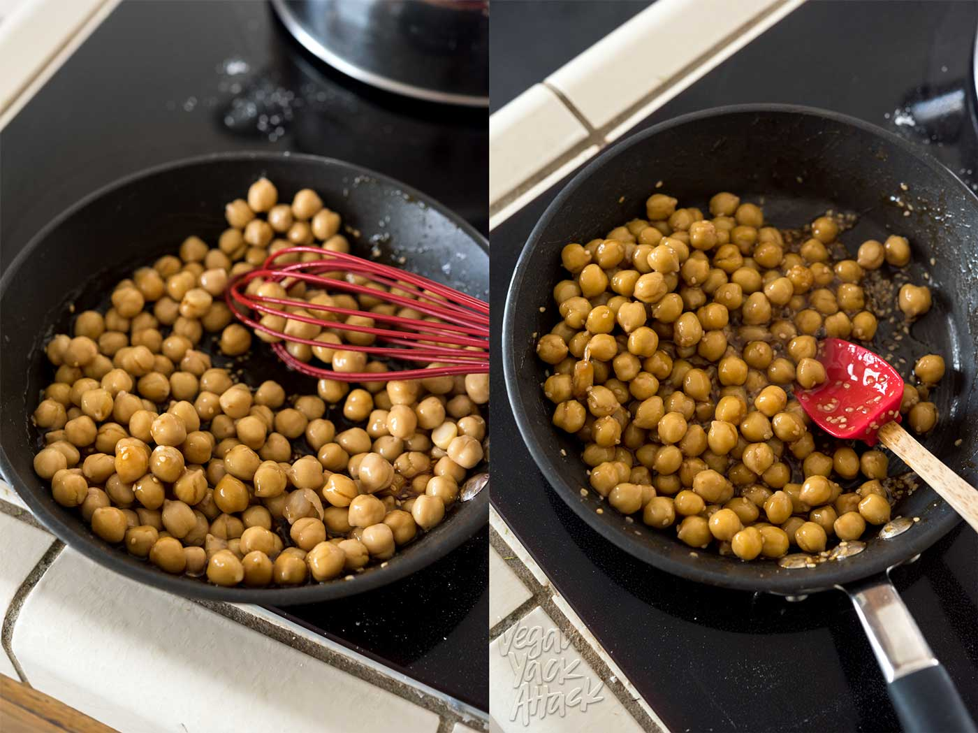 image collage of prepping vegan teriyaki chickpeas