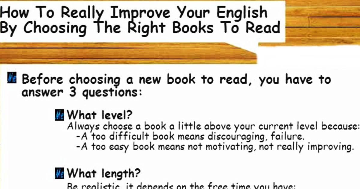 How to really Improve your English by Choosing the Right Books to Read 5