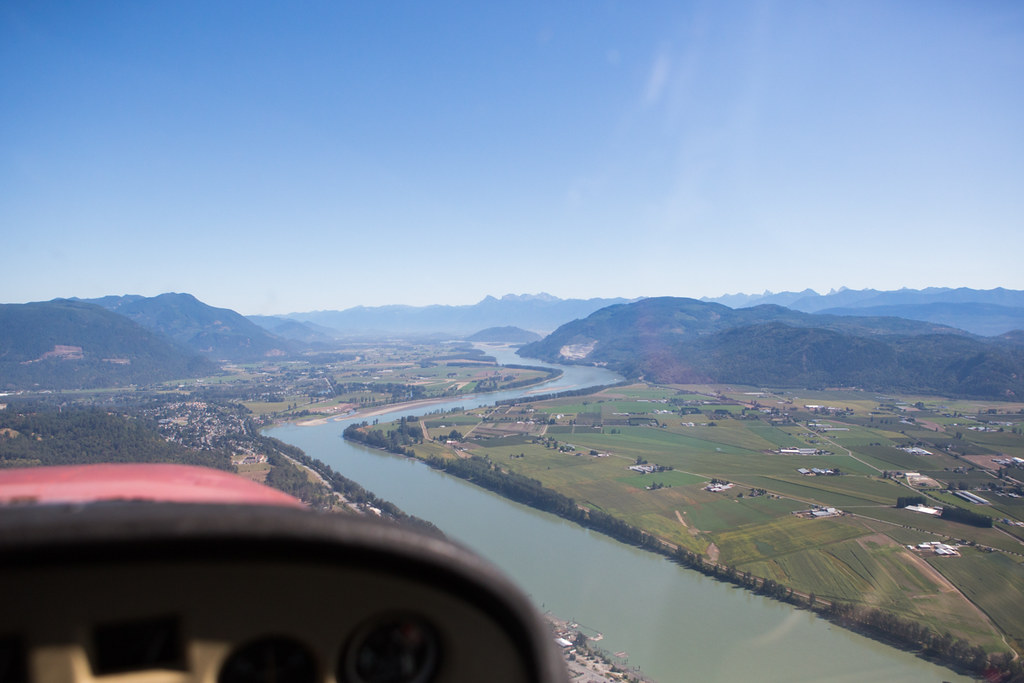Flying above the Fraser River