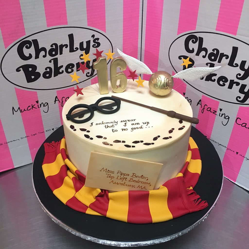 Harry Potter Themed Single Tier 16th Birthday Cake With 3d Flickr