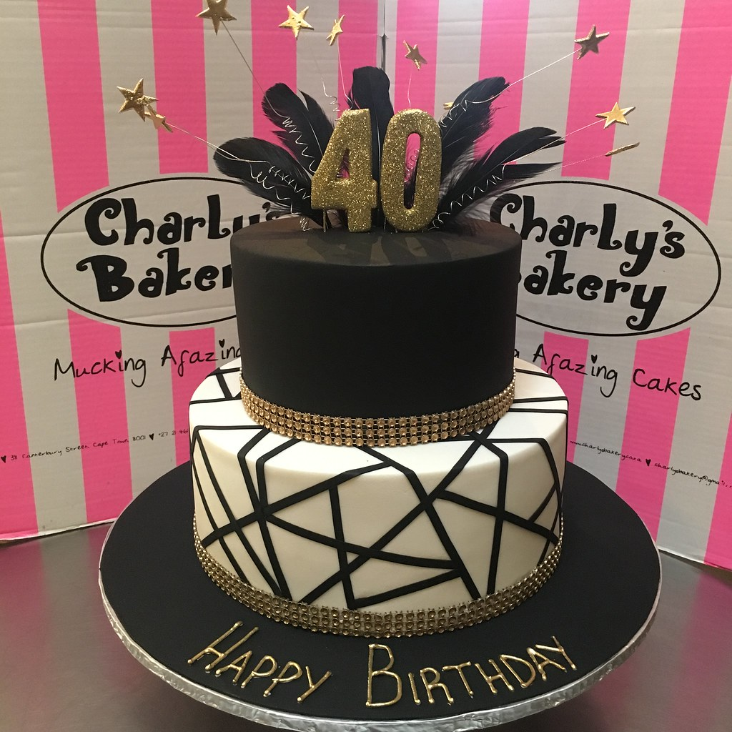 2 Tier Great Gatsby Themed 40th Birthday Cake In Black White And Gold