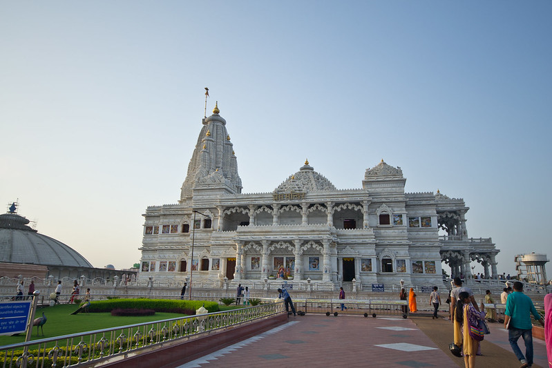 White outside of Prem Mandir Vrindavan