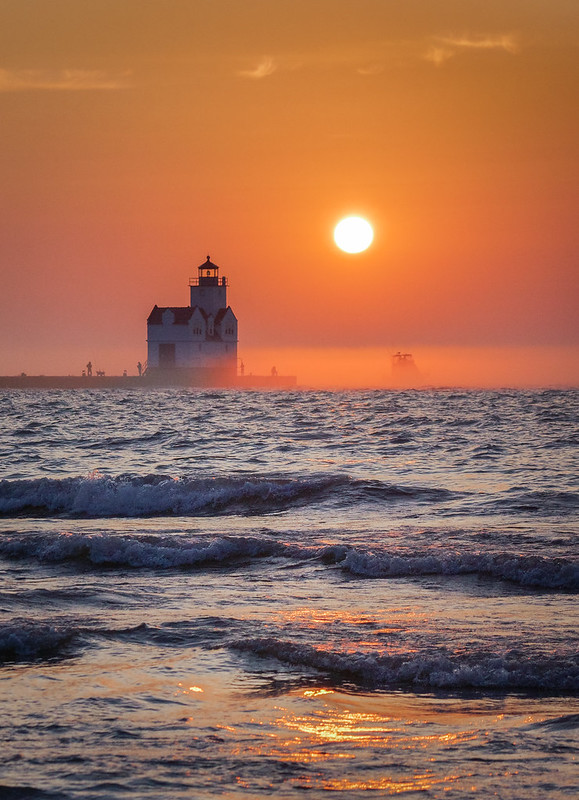 Sunrise, Lighthouse, Lake Michigan, Waves, Morning