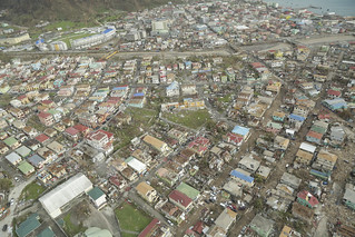 Aerial view of part of Roseau, the capital city of Dominica, 20 Sept 2017. | by DFID - UK Department for International Development