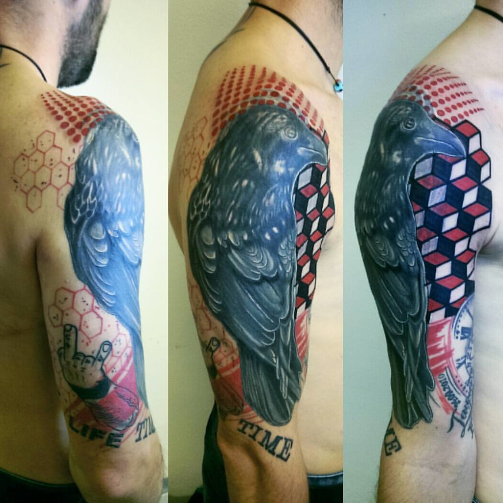 Full sleeve trash polka an geometry big cover up in progr for Big tattoo cover up