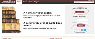 Login at LibraryThing; Click to Enlarge